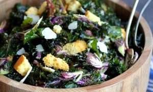 Massaged Kale Sprout Caesar Salad