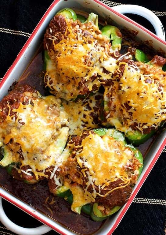 Southwestern Beef and Barley-Stuffed Bell Peppers