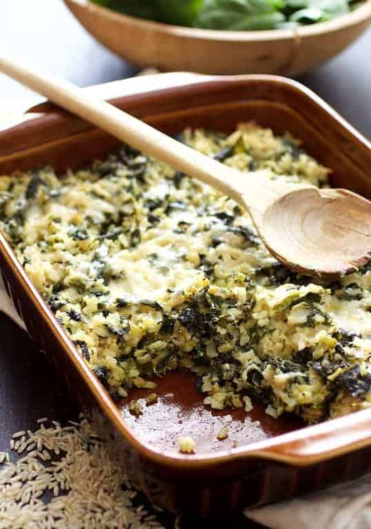 Cheesy Brown Rice and Greens Casserole