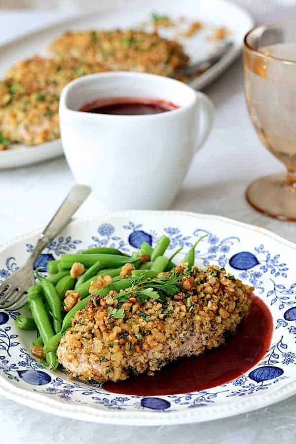 Walnut Crusted Chicken with Pomegranate Sauce