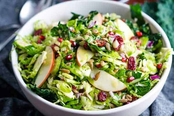 Shaved Brussels Sprout Salad with Kale and Apples