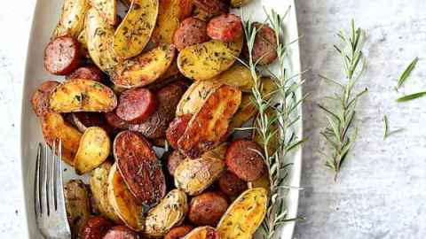 Duck Fat and Rosemary Roasted Fingerling Potatoes with Sausage