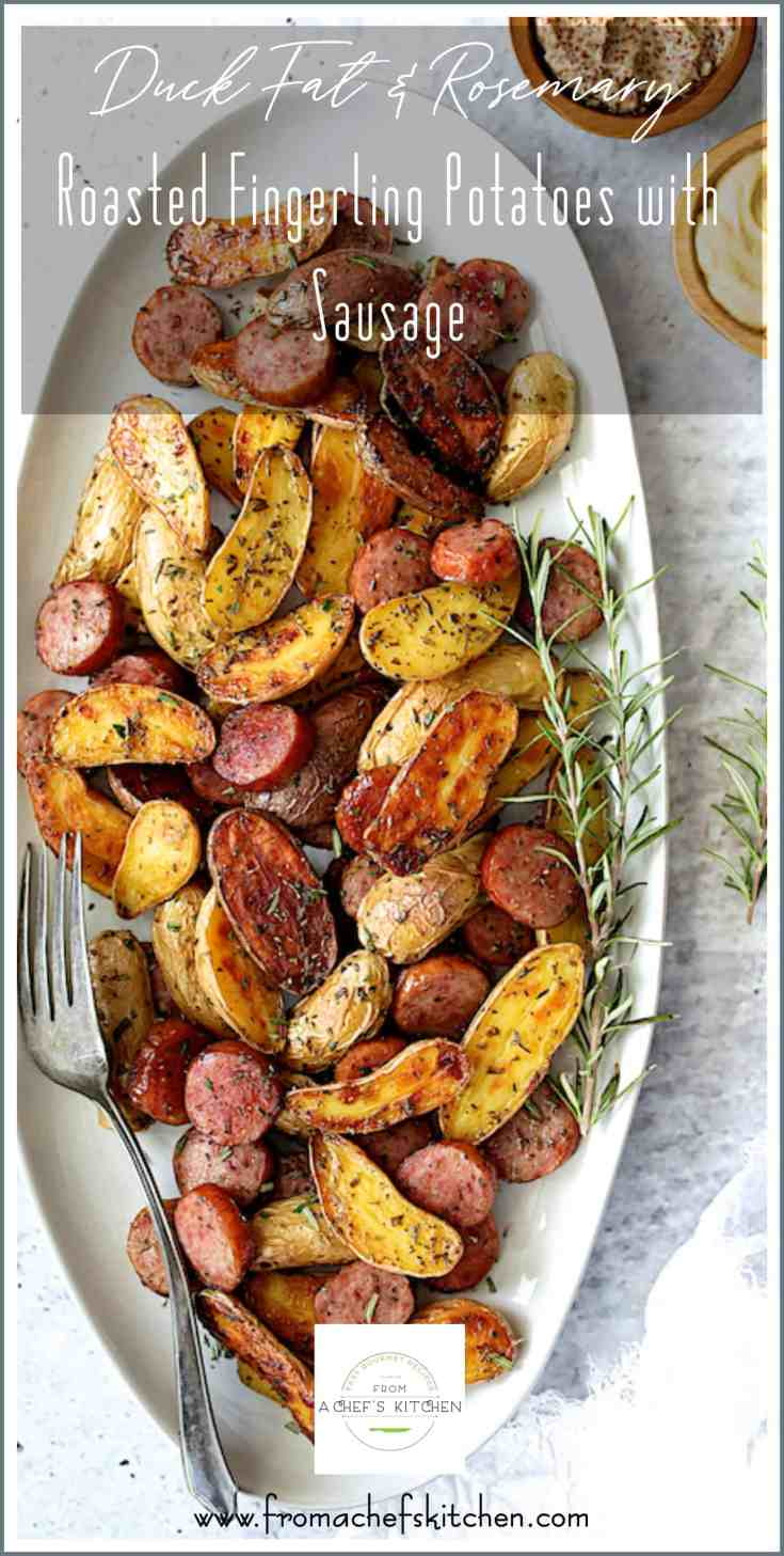 Duck Fat and Rosemary Roasted Fingerling Potatoes with Sausage is how to elevate two humble ingredients into something extraordinary and elegant! #duckfat #duckfatpotatoes #potatoes #roastedpotatoes #fingerlingpotatoes #sausage #sidedish #potatosidedish