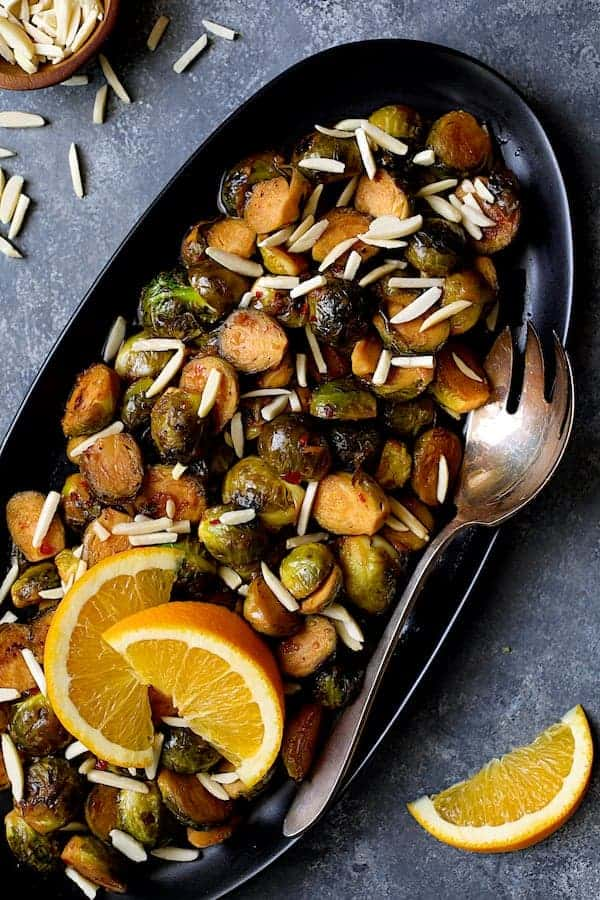 Pan-Roasted Brussels Sprouts with Thai Sweet Chili - Orange Glaze