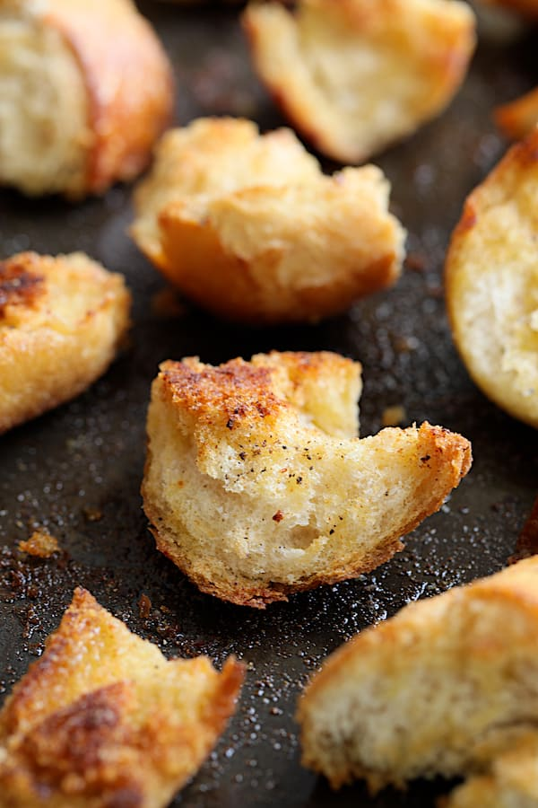 Close-up shot of baked crouton