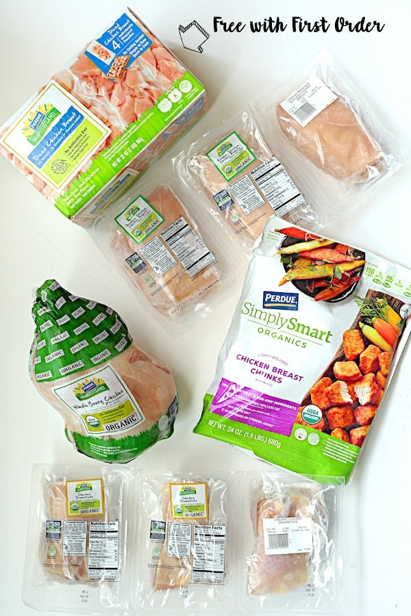 Overhead shot of Perdue Farms chicken products