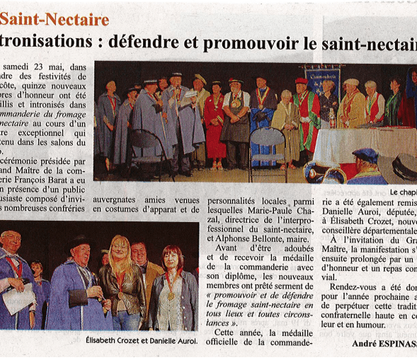 Article presse intronisations commanderie saint nectaire 2015