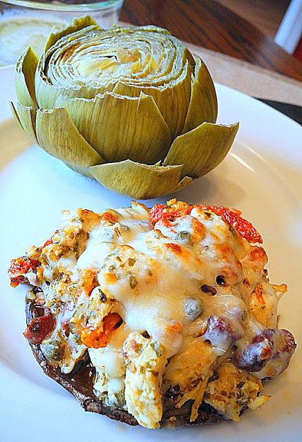 March 11 190-001Chicken Pesto Stuffed Portabello Mushrooms with Steamed Artichokes