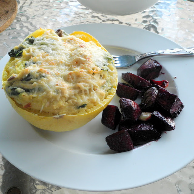 Stuffed Spaghetti Squash with Roasted Beets