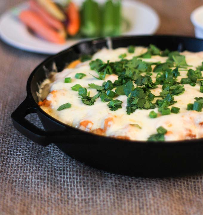 Buffalo Chicken Tot Skillet Bake