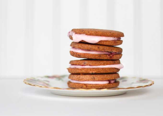 Strawberry Shortbread Sandwich Cookies
