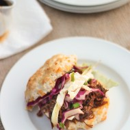 Pulled Pork Cheddar Cheese Biscuit Sliders with Asian Cole Slaw
