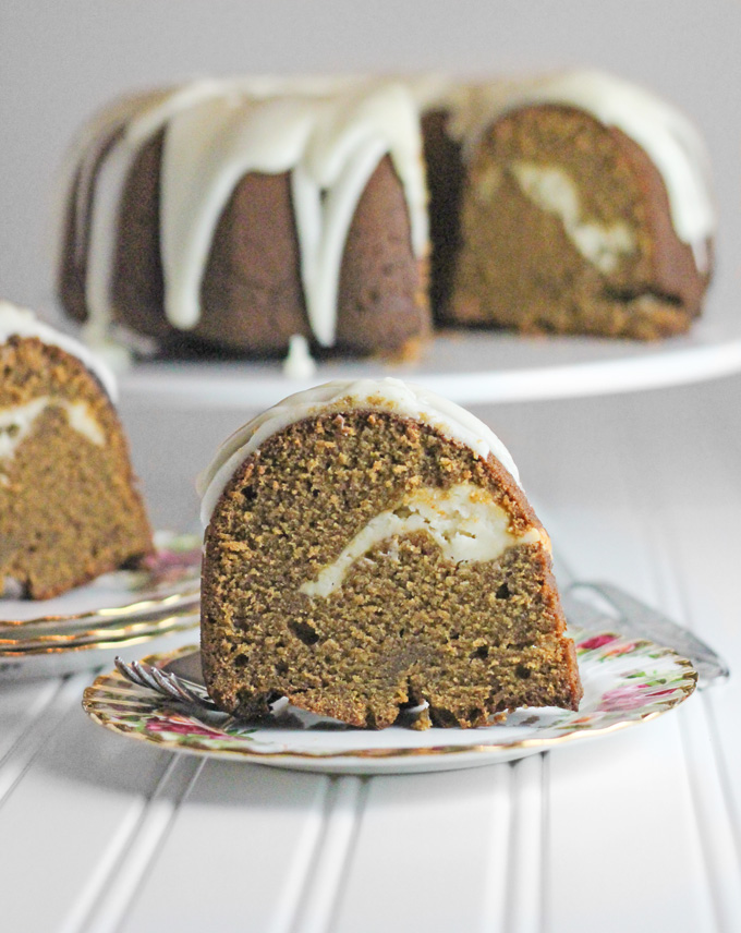 Lemon Glazed Gingerbread Pound Cake with Lemon Cream Cheese Filling