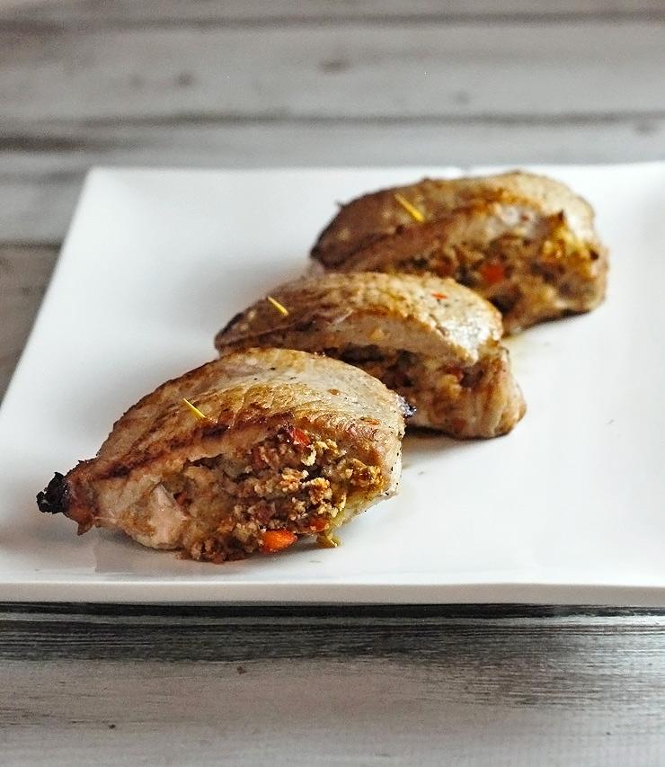 Mushroom and Carrot Stuffed Loin Chops