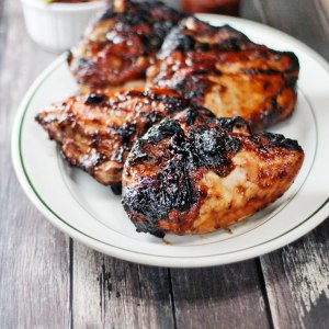 Grilled Chicken Breasts with Plum Sauce and Salsa