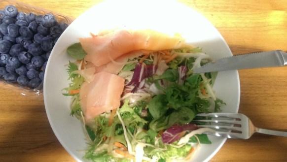 Afternoon snack fresh salad smoked salmon