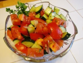 Italian Cucumber Tomato Salad Finished