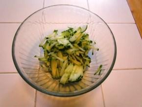 Cucumbers cut