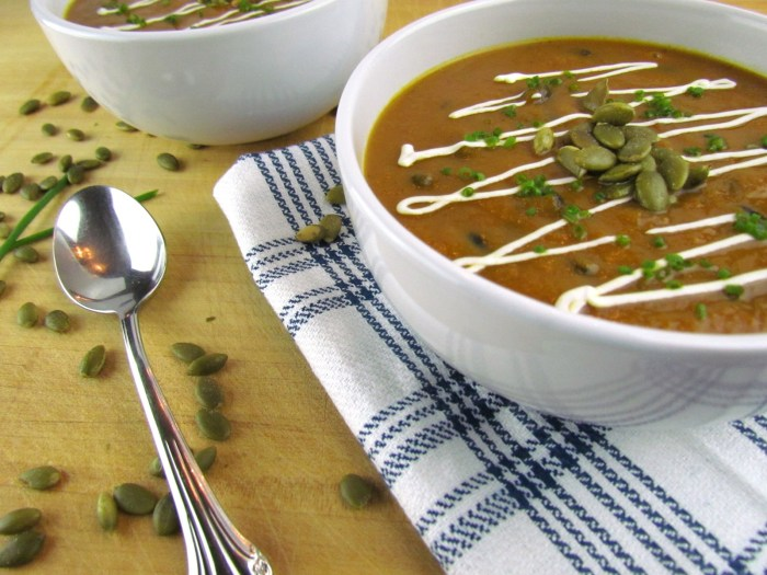 close-up of pumpkin black bean soup on blue plaid towel with spoon