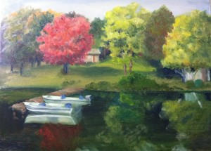 Cabin at the Lake Oil on canvas 16x20