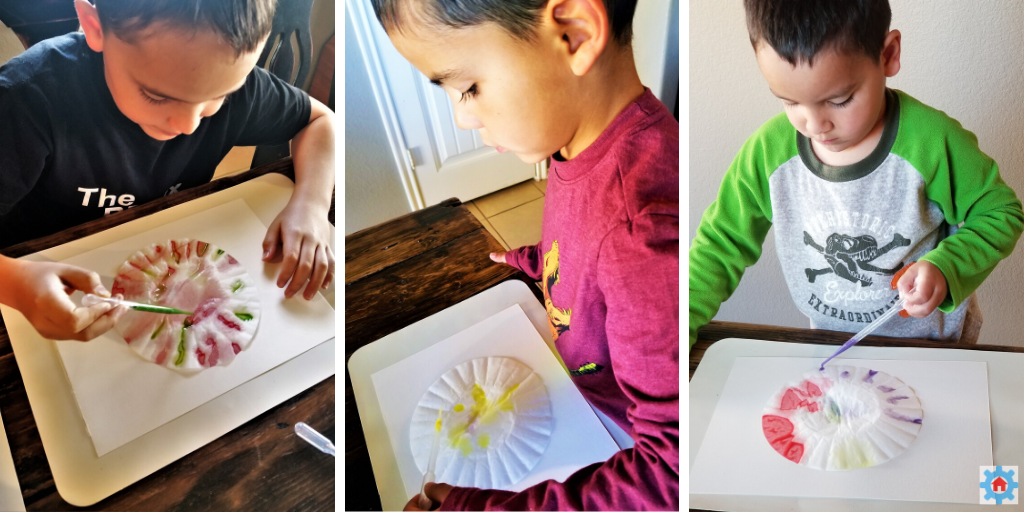 Using just a drop of a paint at a time, my boys watch the paint spread on their coffee filters.  Capillary action in action!