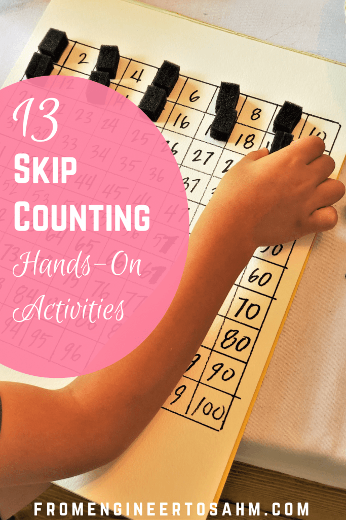 Using a number board, we taught our first grader to skip count. Plus, twelve more skip counting hands-on activities!