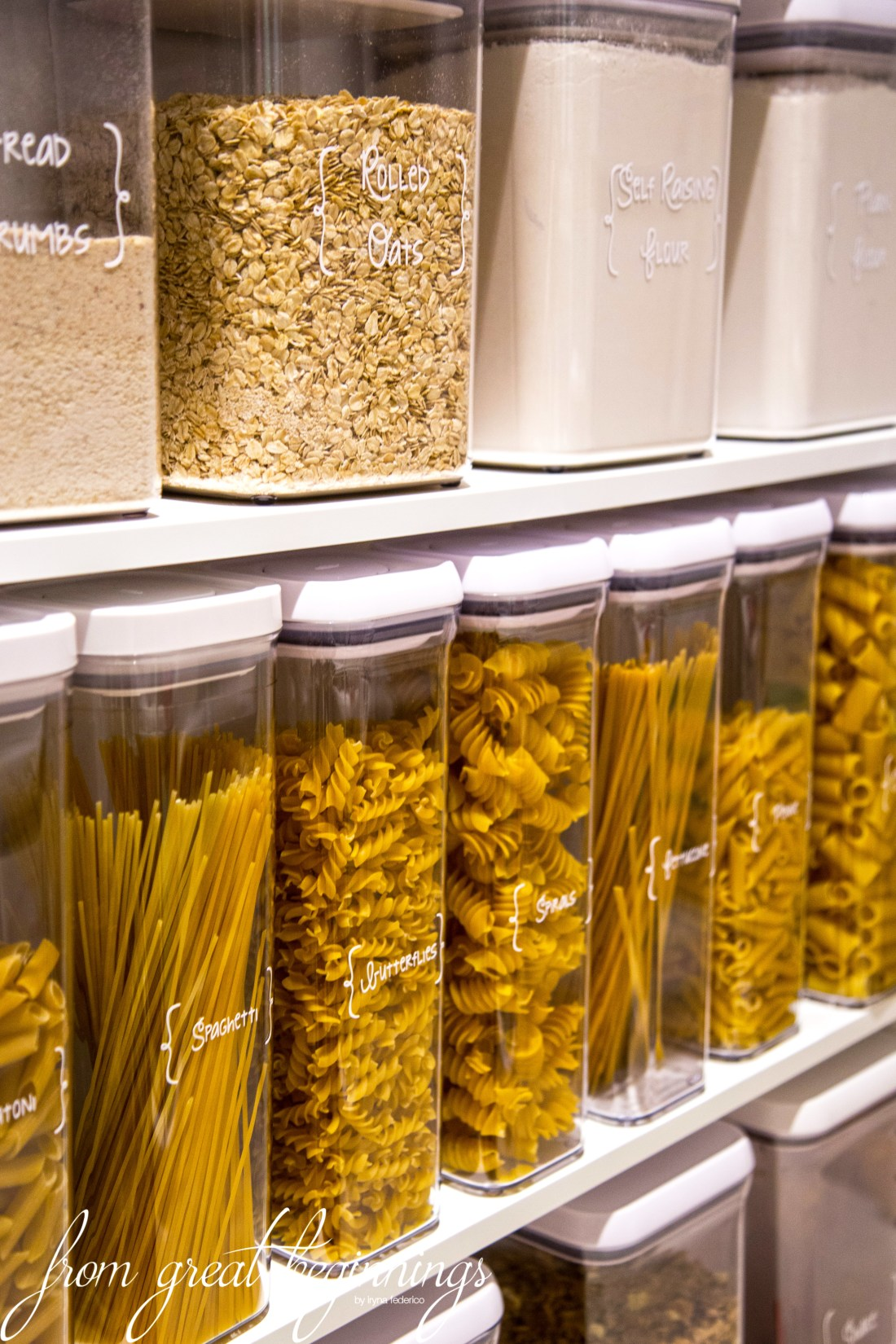 Storing dry goods in your pantry - www.fromgreatbeginnings.com