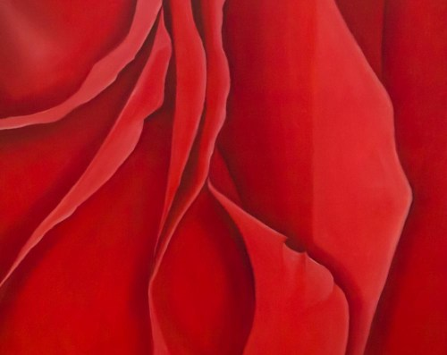 Oil painting on canvas of rose petals