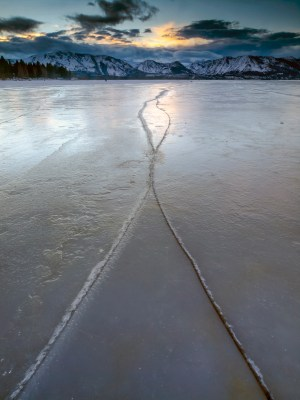 A pattern in the iced over Lake Tahoe