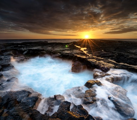 Sunset photograph from the rocky coastline of Keahole Point on the Big Island of Hawaii