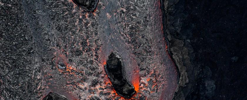 Colorful design of the Pahoa lava river.