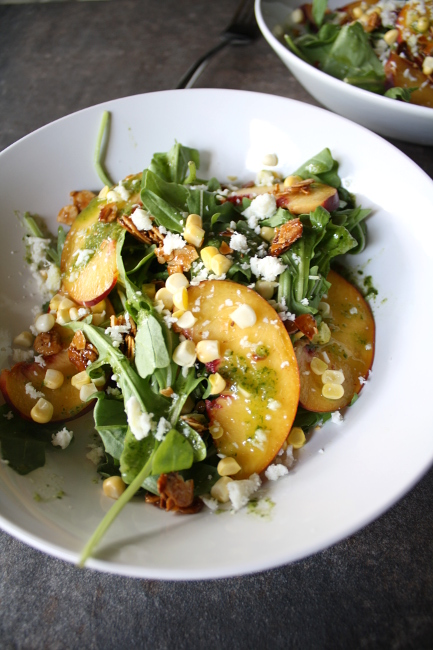 Peach Summer Salad with Fresh Corn and Basil