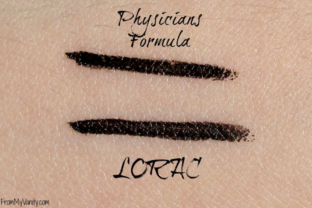 Are They a Dupe or Dud // Lorac VS Physicians Formula Liquid Eyeliners // Swatches// From My Vanity