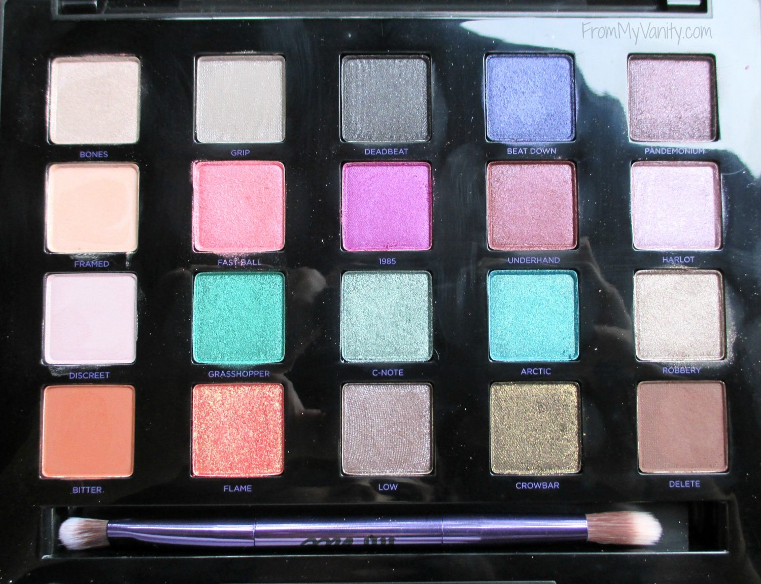 Urban Decay Vice 4 Palette // Close Up of Vivid, Oil Spill Eyeshadow Colors // FromMyVanity.com