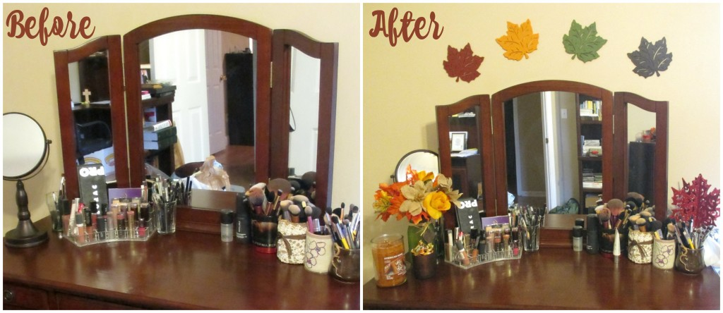 Decorate Your Vanity for Fall // Fall Inspired Before & After Pictures // #LoveAmericanHome #CollectiveBias #ad // FromMyVanity.com