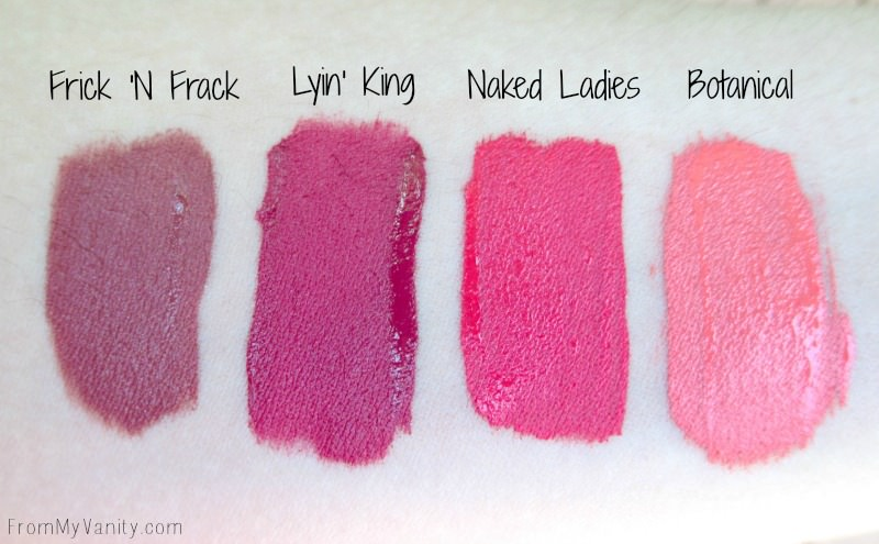 Arm swatches from the Ultra Satin Lips from ColourPop