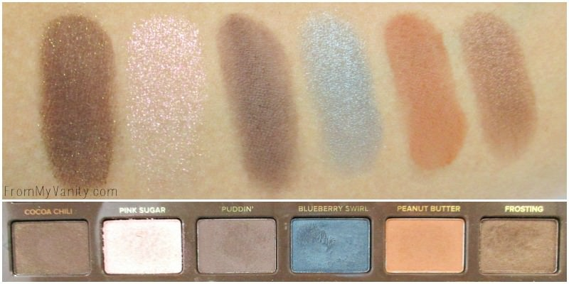 Swatches of the second row of the Semi Sweet palette