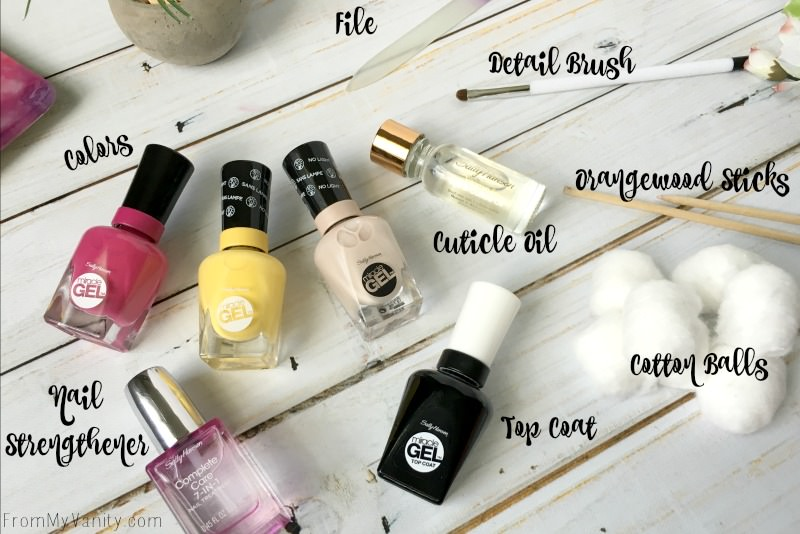 All the supplies you need for the dry brush flower nail art!