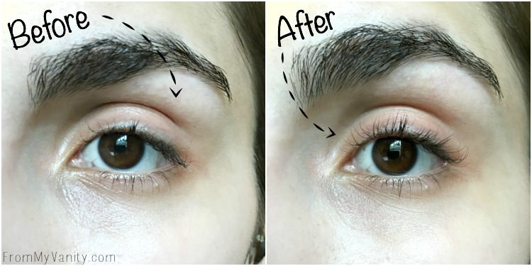 The before and after picture of the Chella Heated Eyelash Curler!