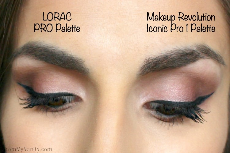 Comparison eyes of the LORAC PRO Palette and the Makeup Revolution Iconic Pro 1 Palette