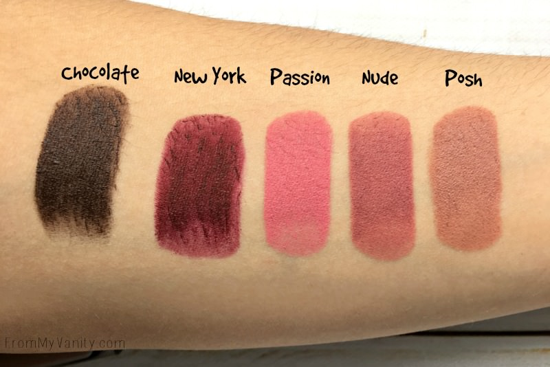 Swatches of the Mellow Cosmetics creamy matte lipsticks
