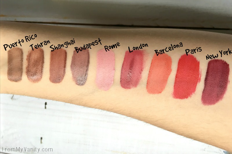 Swatches of the Mellow Cosmetics liquid lip paints