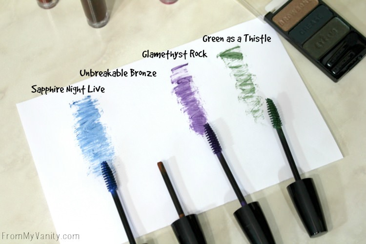 Swatches of the Wet n Wild Fall collection Color Icon colored mascaras