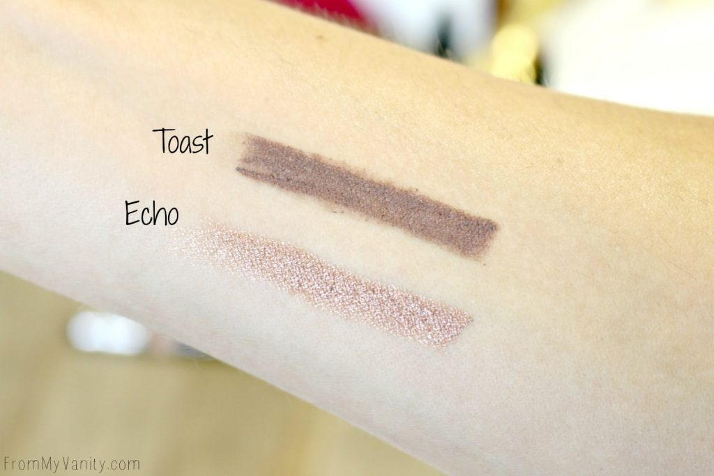 Swatches of the Glo Minerals Cream Stay Shadow Sticks from the Bold Pursuit Collection