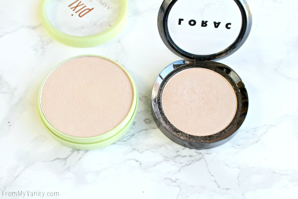 Dupe or Dud | LORAC Light Source Highlighter vs Pixi Beauty Glow-Y Powder | Daylight vs Santorini Sunset