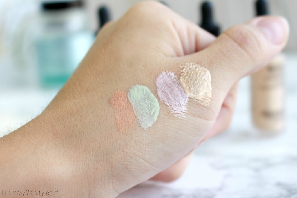 Algenist Reveal Concentrated Drops | The Secret to Natural Makeup? | Swatched drops of the Reveal Concentrated Color Correcting Drops and Concentrated Illuminating Drops