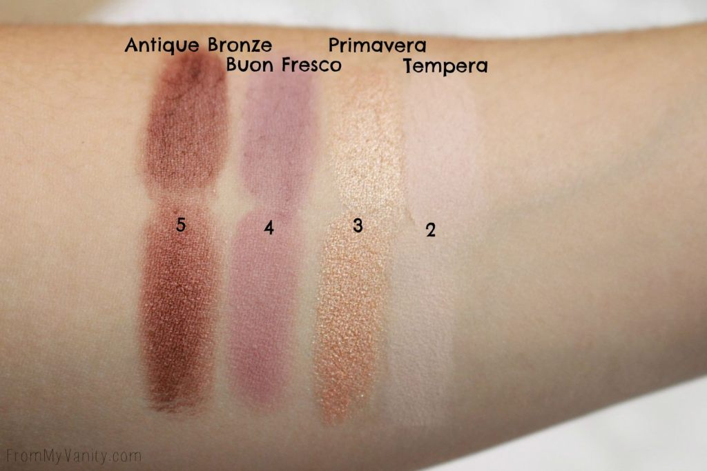 Dupe or Dud | ABH Modern Renaissance vs Wet n Wild Rosé in the Air Palette | Swatch Comparison, First Row