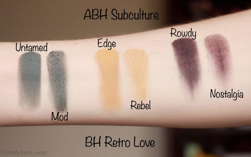Dupe or Dud   ABH Subculture Palette vs Bad Habit Retro Love Palette   Eye Look Comparison!   Row 4 Swatches