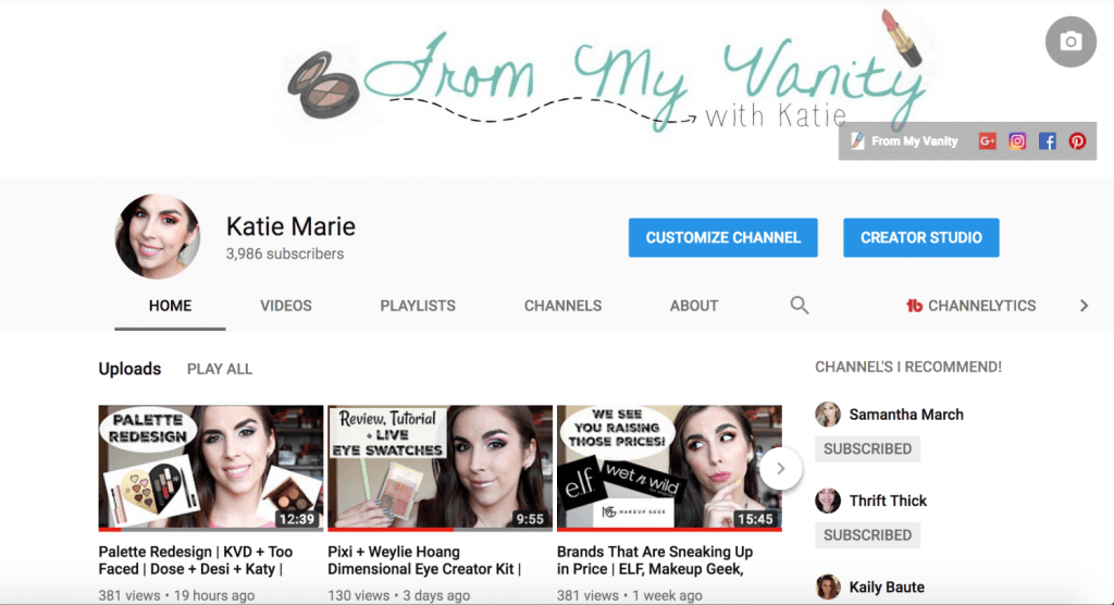 Katie Marie | Youtube Channel