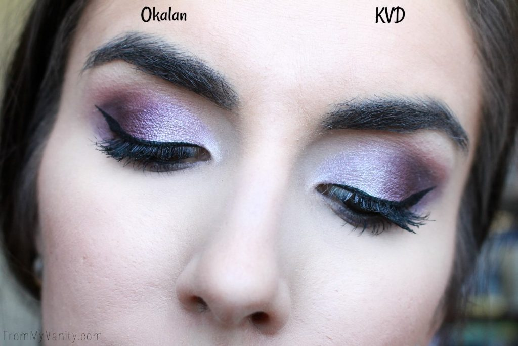 Dupe or Dud | KVD MetalMatte vs Okalan MatteMetal | Eye Look Comparison! | Purple Eye Look